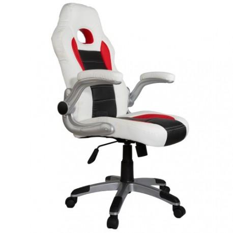 fauteuil de bureau sport racing blanc noir rouge. Black Bedroom Furniture Sets. Home Design Ideas