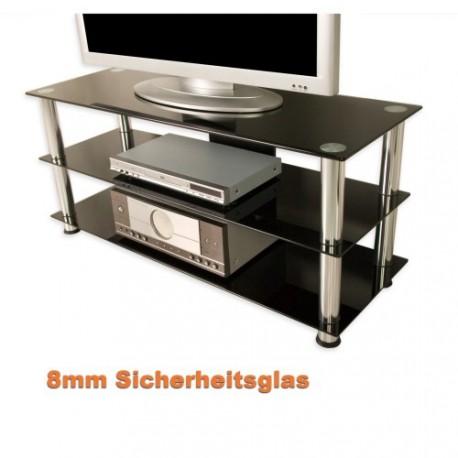 ... Meuble TV > Meuble TV hifi design en verre noir 110cm avec pieds