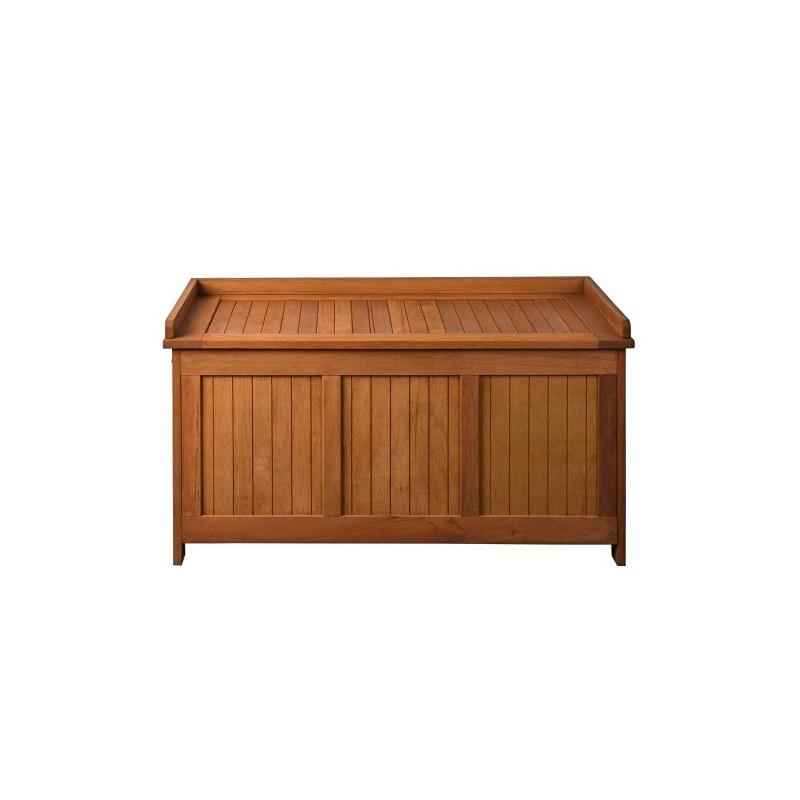 Banc coffre de rangement jardin ext rieur en bois avec coussin for Banc coffre de jardin