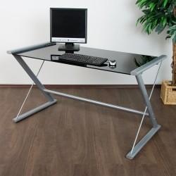 Table d 39 ordinateur de bureau en verre noir - Table de bureau en verre ...