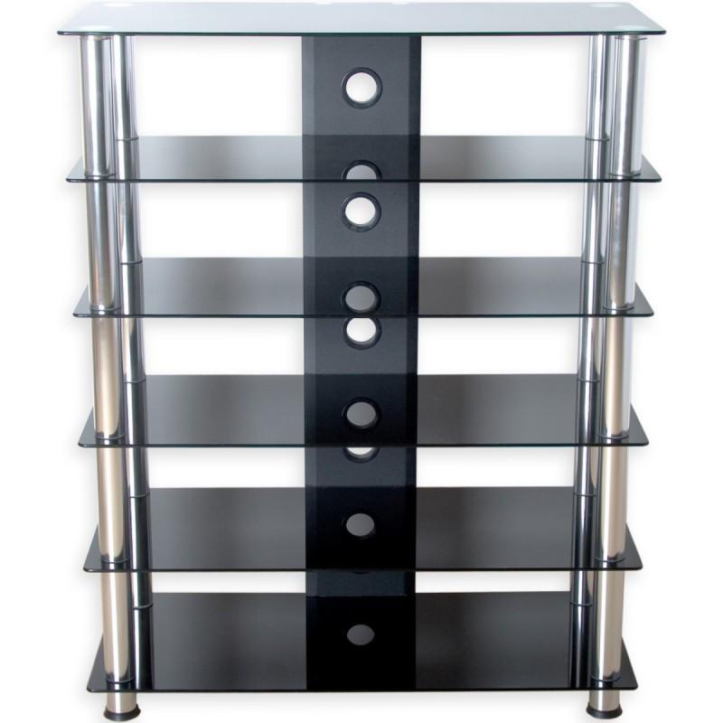 Meuble hifi design en verre noir 113 cm -> Meuble En Verre Noir