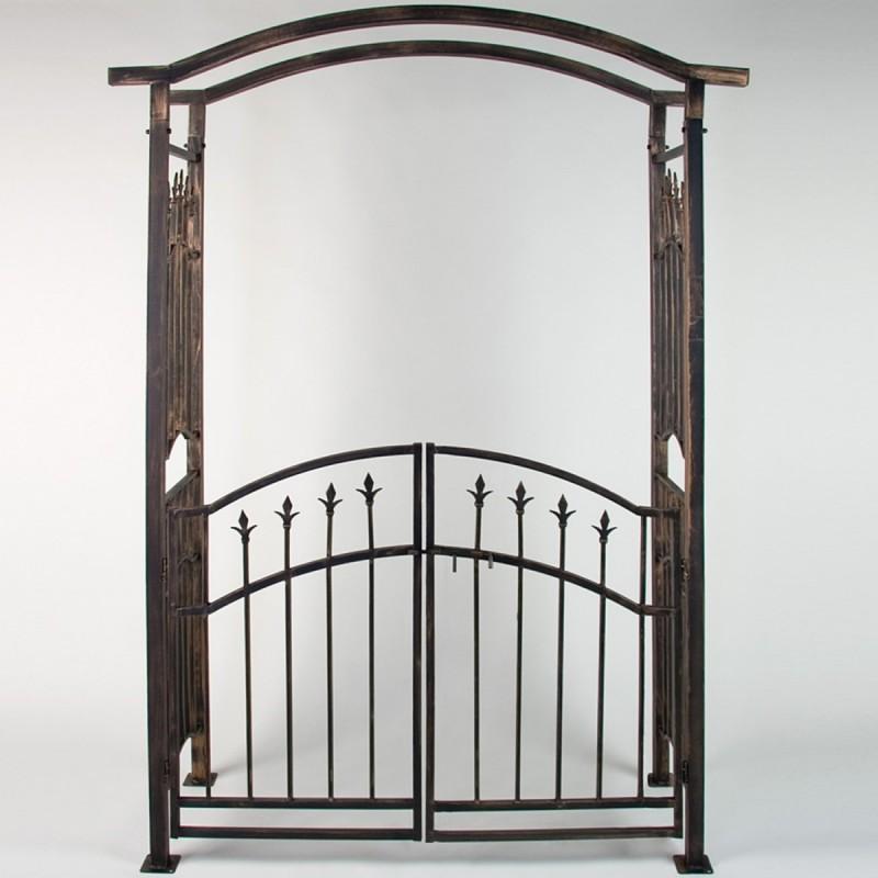 Arche de jardin avec portillon bronze 207 x 140 x 50 cm - Portillon de jardin ...