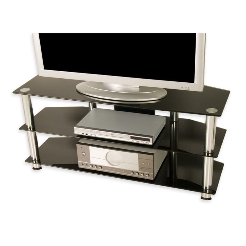 Meuble tv en verre tremp noir 110 x 50 x 40 cm for Meuble tv 110 cm gris