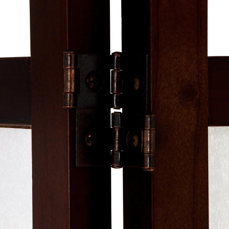 paravent bois brun et tissu blanc 156cm. Black Bedroom Furniture Sets. Home Design Ideas