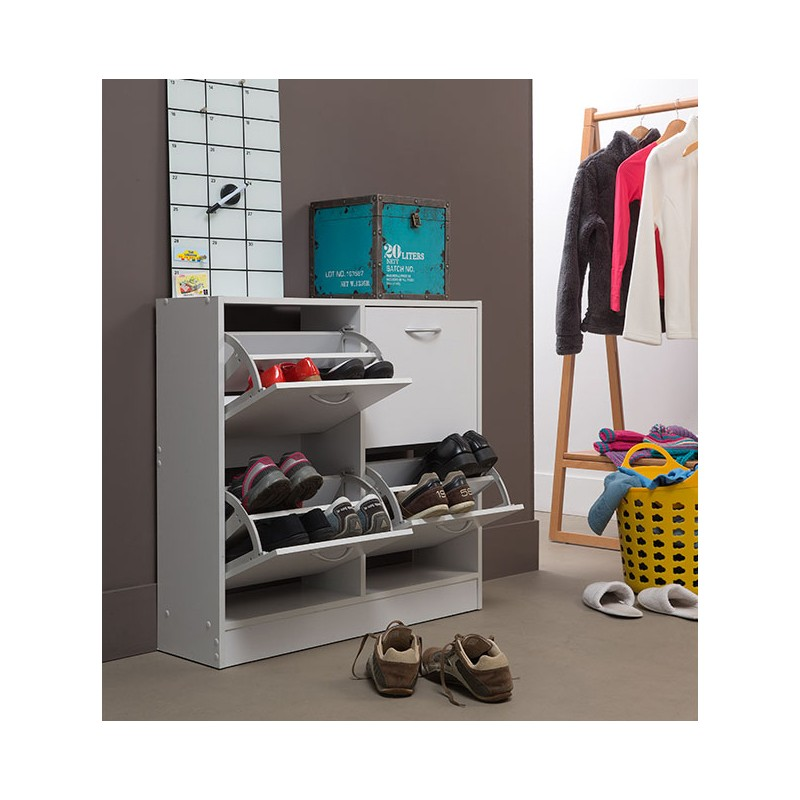 armoire chaussures 4 compartiments blanc. Black Bedroom Furniture Sets. Home Design Ideas