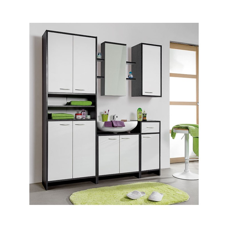 meuble colonne salle de bain double anthracite blanc 177 5cm. Black Bedroom Furniture Sets. Home Design Ideas