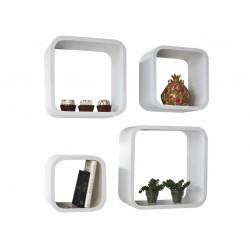 4 étagères murales rétro cubes blanches