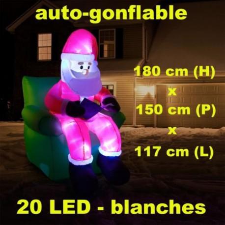 Père noël gonflable assis sur son fauteuil éclairage LED 1,80 m