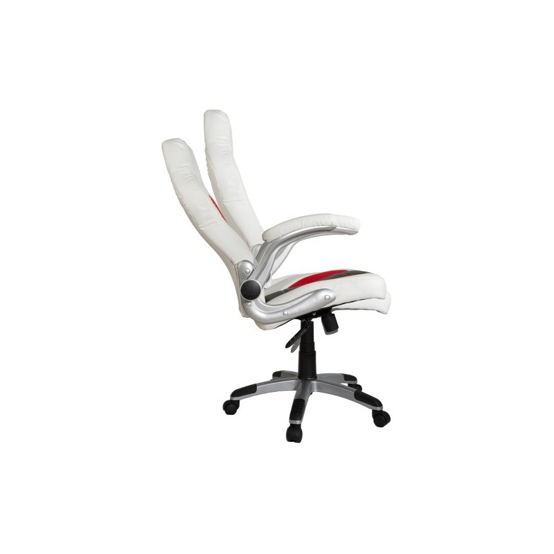 fauteuil de bureau sport racing blanc noir rouge. Black Bedroom Furniture Sets. Home Design Ideas