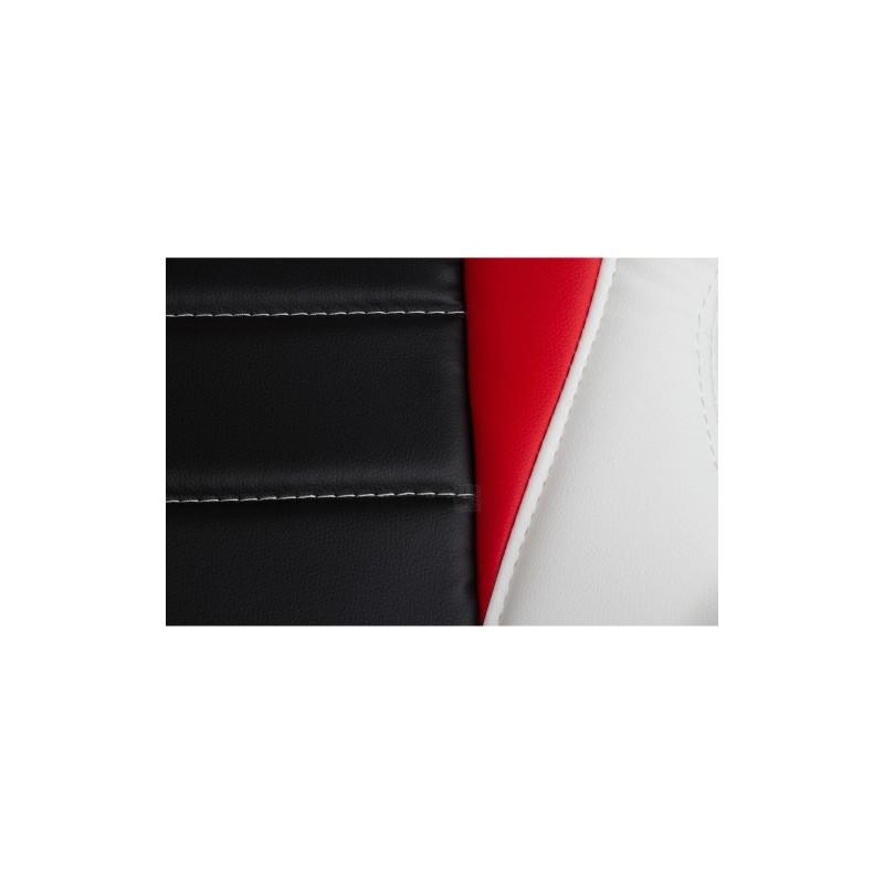 Fauteuil de bureau sport racing blanc noir rouge for Bureau blanc noir