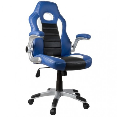 fauteuil de bureau sport racing bleu et noir. Black Bedroom Furniture Sets. Home Design Ideas