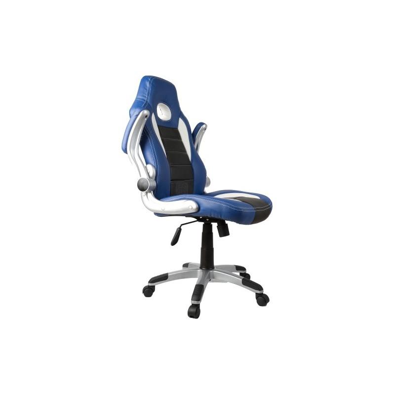 fauteuil de bureau sport racing bleu et noir. Black Bedroom Furniture Sets. Home Design Ideas