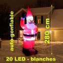 Père noël gonflable éclairage LED 2,80m