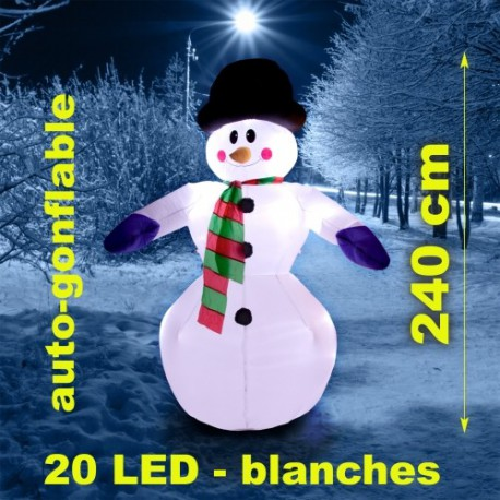 Bonhomme de neige gonflable lumineux extérieur 240cm