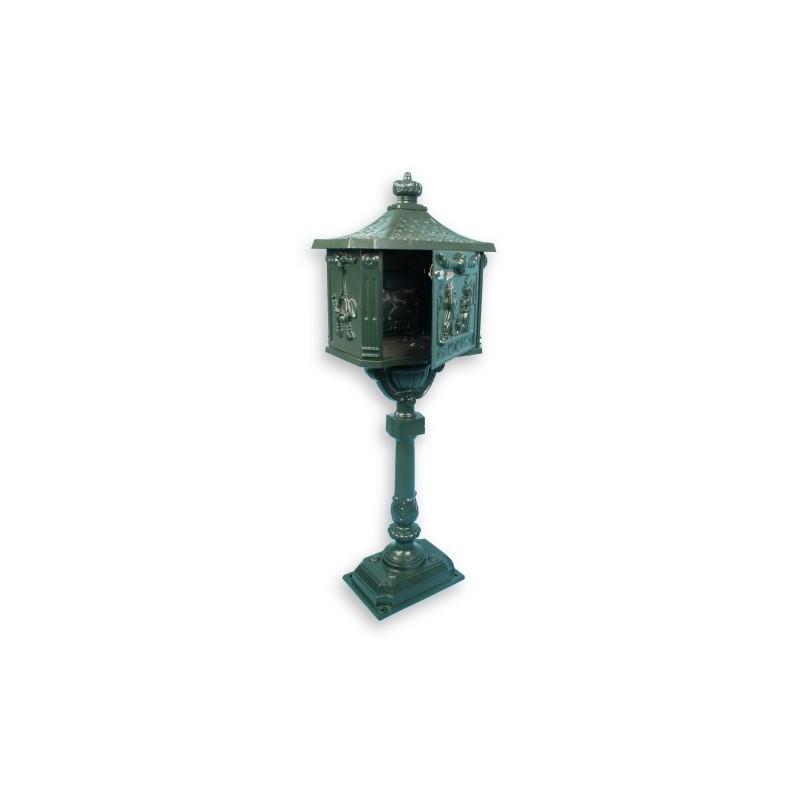 boite aux lettres sur pied en fonte verte achat boite lettres. Black Bedroom Furniture Sets. Home Design Ideas