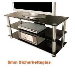 Meuble TV hifi design en verre noir 110cm avec pieds chromés