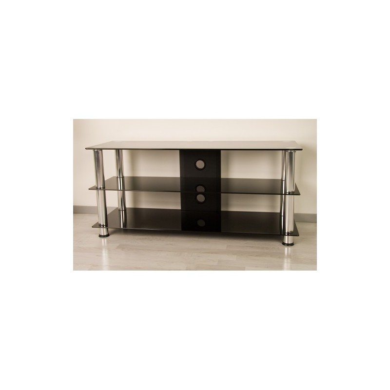 meuble tv hifi design en verre noir 110cm avec pieds chrom s. Black Bedroom Furniture Sets. Home Design Ideas