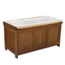 Banc coffre de rangement jardin extérieur en bois 113 x 52,5 x 60,5cm