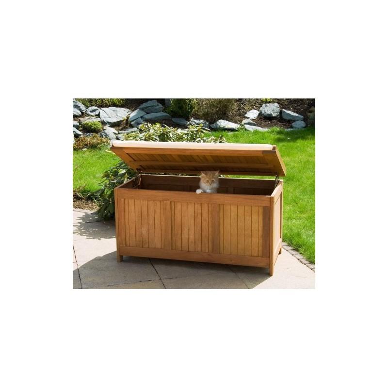 Banc coffre de rangement jardin ext rieur en bois avec coussin - Coffre de jardin bois ...