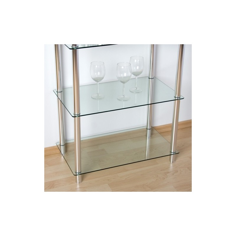 Etag re biblioth que en verre et aluminium s jour salon for Etagere verre