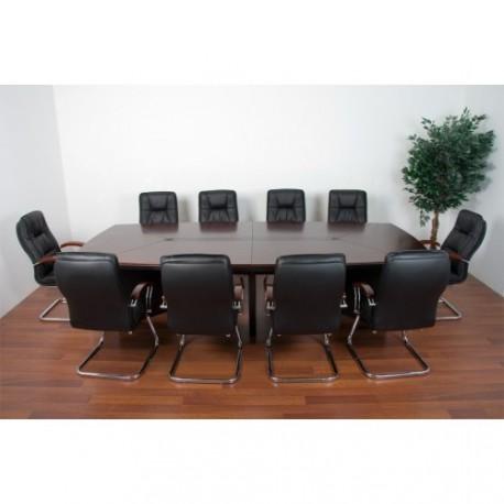 Table de réunion avec 10 fauteuils en cuir