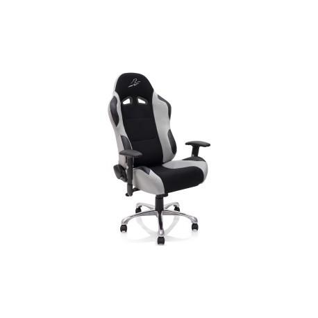 fauteuil de bureau look racing gris argent noir. Black Bedroom Furniture Sets. Home Design Ideas