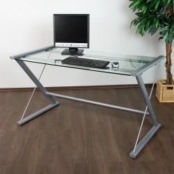 Table d'Ordinateur de Bureau en Verre