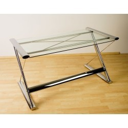 Table d'Ordinateur de Bureau en Verre - Look Chrome