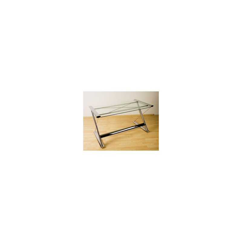 table d 39 ordinateur de bureau en verre look chrome. Black Bedroom Furniture Sets. Home Design Ideas