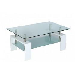 Table basse de salon en verre et MDF blanc laqué