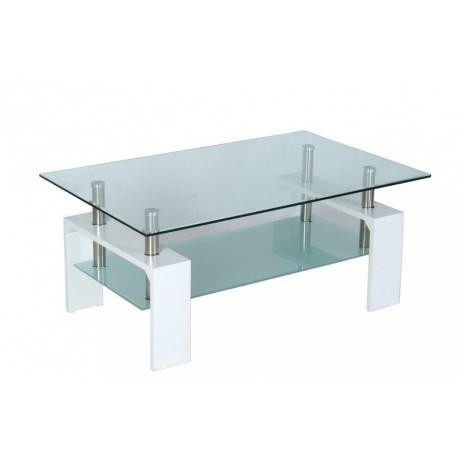 Table basse de salon en verre et mdf blanc laqu - Panneau mdf laque blanc ...