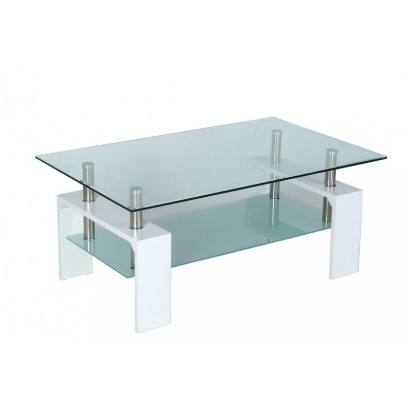 Table basse de salon en verre et mdf blanc laqu - Table salon en verre ...