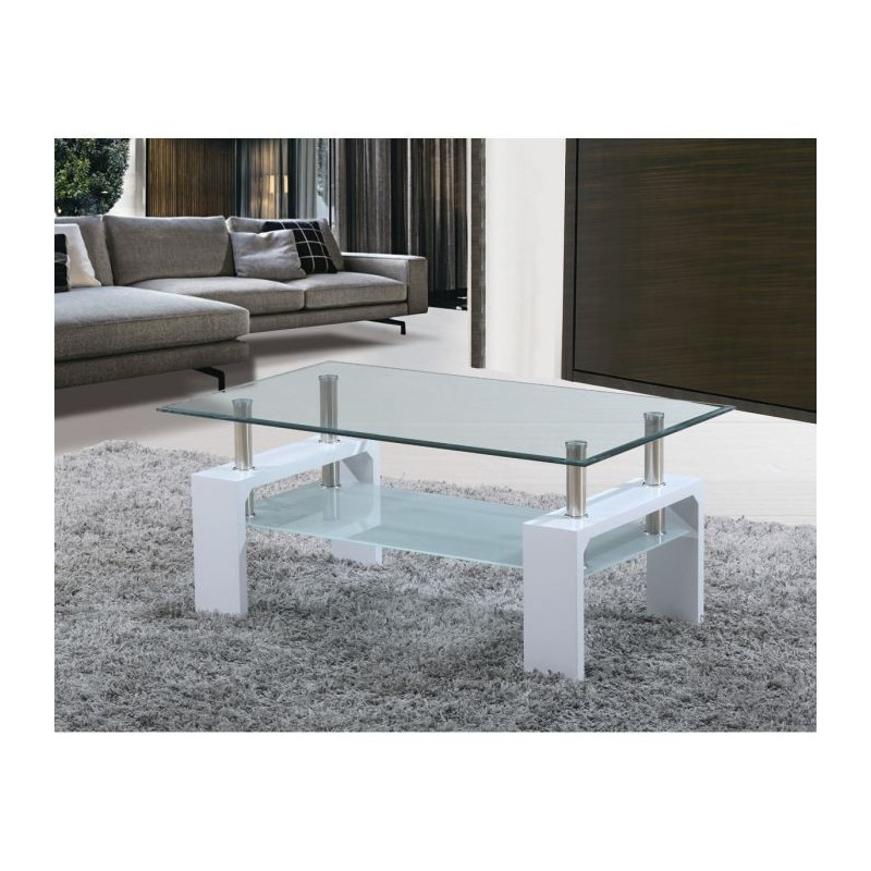 table basse de salon en verre et mdf blanc laqu. Black Bedroom Furniture Sets. Home Design Ideas