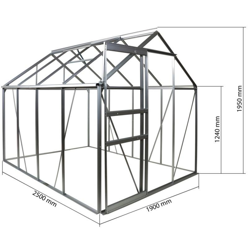 Serre de jardin aluminium polycarbonate 250x190x195cm - Serre alu polycarbonate ...