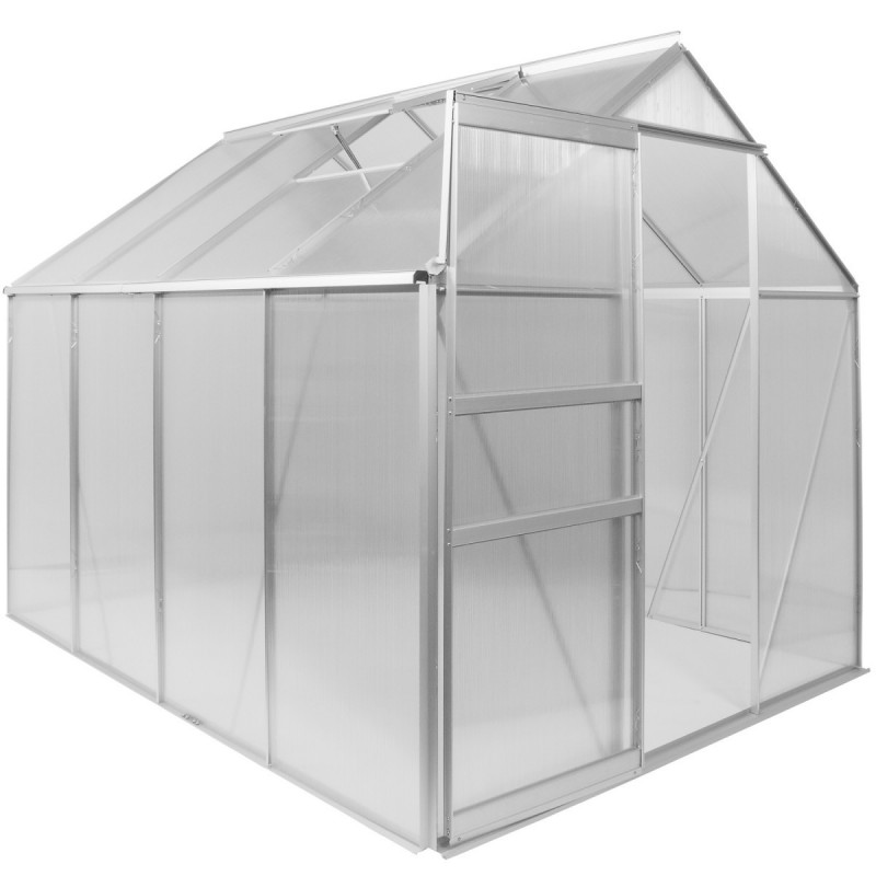 Serre de jardin aluminium polycarbonate 4mm 250x190x195cm - Serre alu polycarbonate ...