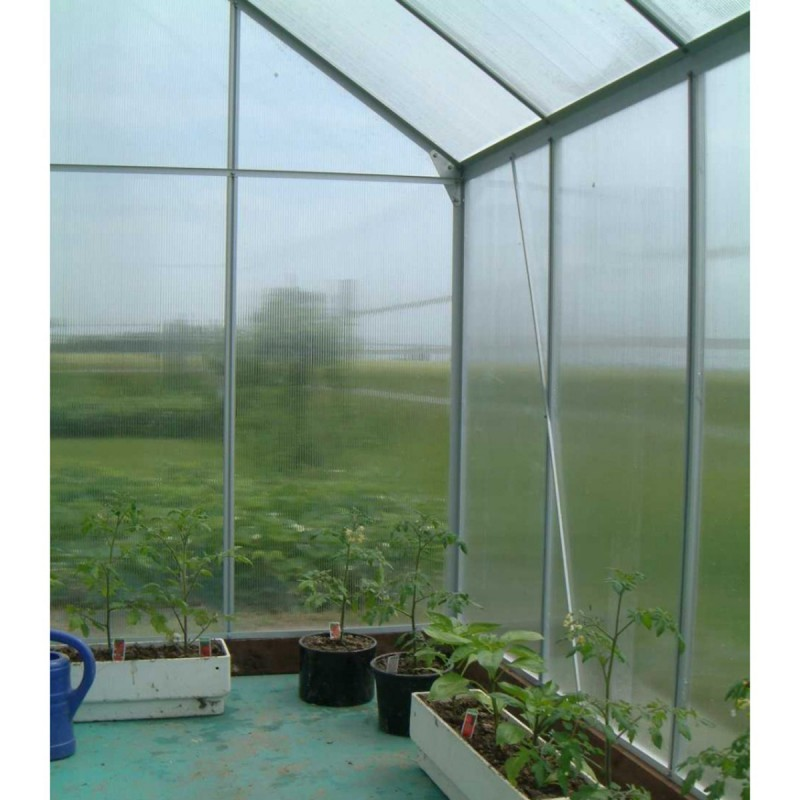 Serre de jardin aluminium polycarbonate 4mm 250x190x195cm - Serre de jardin en aluminium et polycarbonate ...