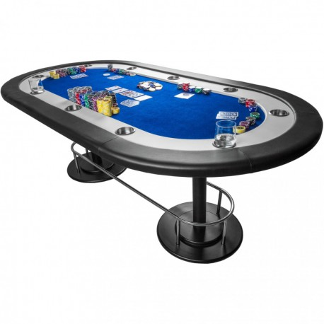 "Table de poker tapis bleu ""Full house"" 208 x 106 x 80 cm"