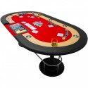"Table de poker tapis rouge ""Full house"" 208 x 106 x 80 cm"