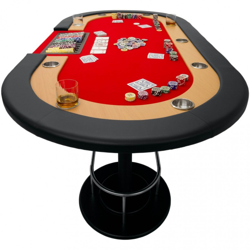 table de poker tapis rouge full house 208 x 106 x 80 cm. Black Bedroom Furniture Sets. Home Design Ideas