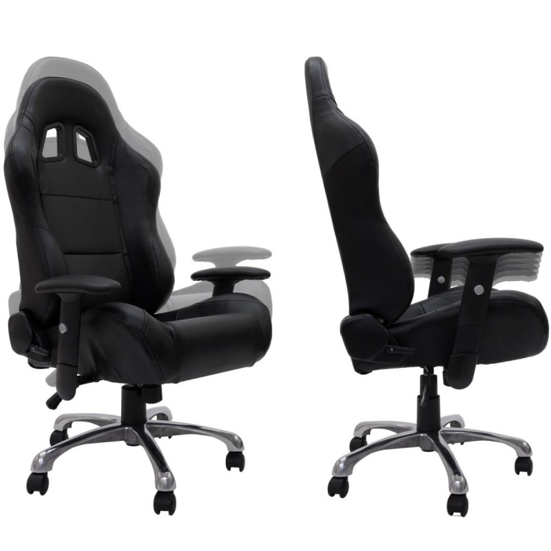 fauteuil de bureau sport baquet racing en cuir daytona noir. Black Bedroom Furniture Sets. Home Design Ideas