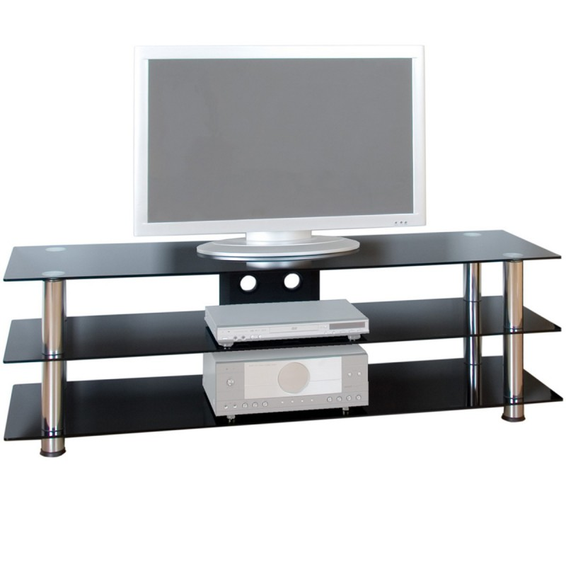 meuble tv en verre noir et pieds aluminium 158 5 x 46 x 50 5 cm. Black Bedroom Furniture Sets. Home Design Ideas
