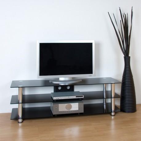Meuble TV en verre noir et pieds aluminium 158,5 x 46 x 50,5 cm