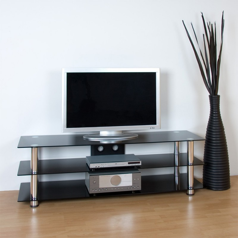 meuble tv en verre noir et pieds aluminium 158 5 x 46 x 50. Black Bedroom Furniture Sets. Home Design Ideas
