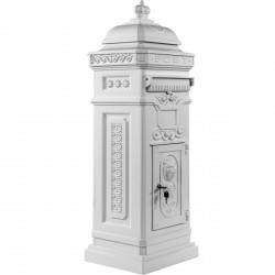 Boite aux lettres colonne pilier en fonte blanc 102,5 cm
