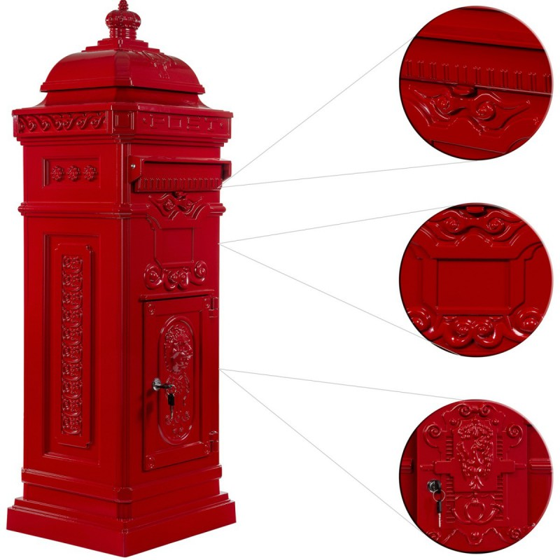 boite aux lettres colonne pilier en fonte rouge 102 5 cm. Black Bedroom Furniture Sets. Home Design Ideas