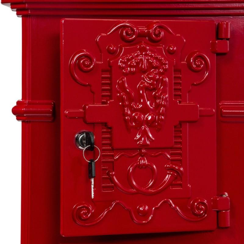 boite aux lettres colonne pilier en fonte rouge 102 5 cm. Black Bedroom Furniture Sets. Home Design Ideas