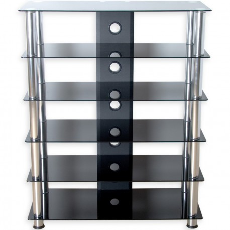 Meuble hifi design en verre noir 113 cm