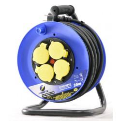 Rallonge électrique 25m H07RN-F avec enrouleur 4 prises