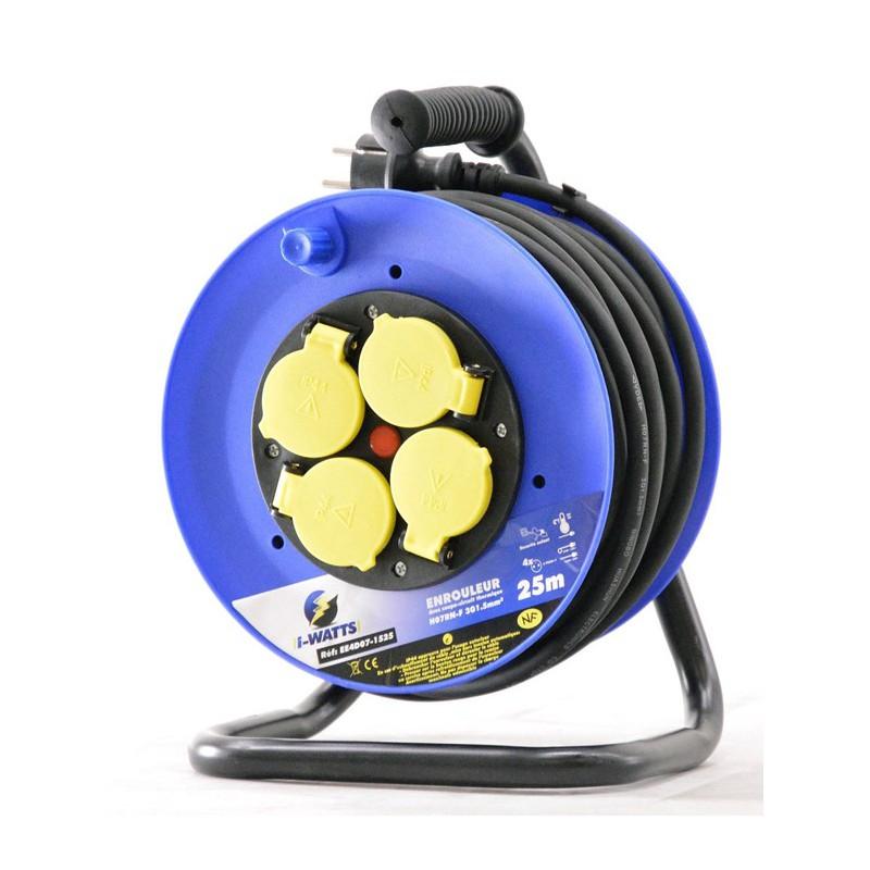 Rallonge lectrique 25m h07rn f avec enrouleur 4 prises - Rallonge electrique 25m ...