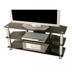 Meuble TV en verre trempé noir 110 x 50 x 40 cm